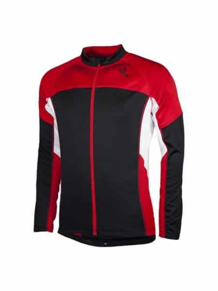 Rogelli Recco wielershirt kids lange mouw rood wit zwart