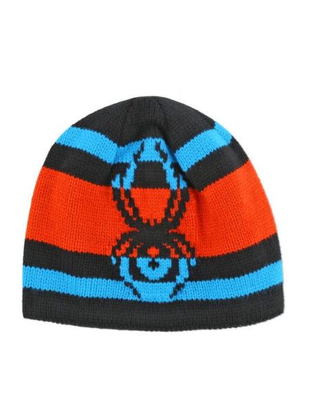 Spyder zwart oranje en blauwe kindermuts