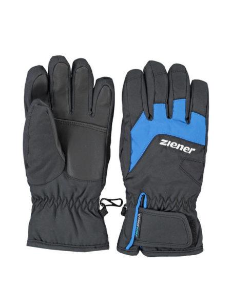 Ziener zwart met blauwe ski handschoenen Lizzard