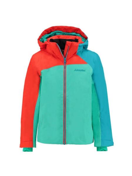 Schöffel groen/oranje/blauwe meisjes ski jas Le Havre