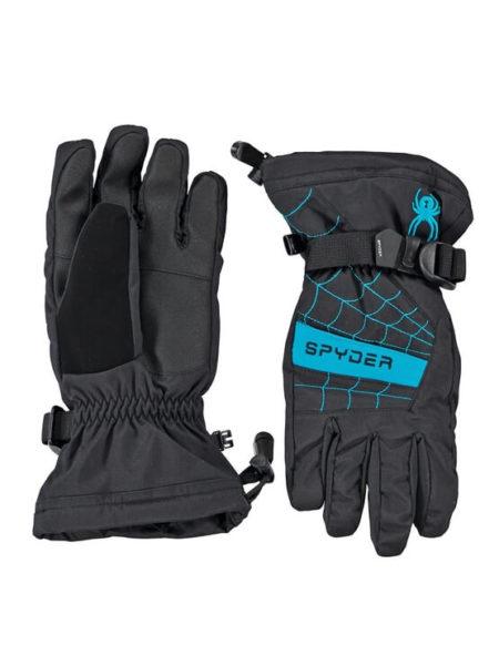 Spyder zwart met Electric blauwe kinder ski handschoenen