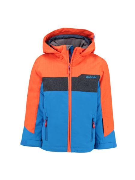 Ziener blauw met oranje jongens ski jas Afuro