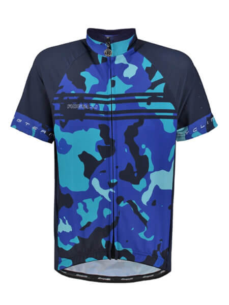 Rogelli Camo blue wielershirt kind kort f 555