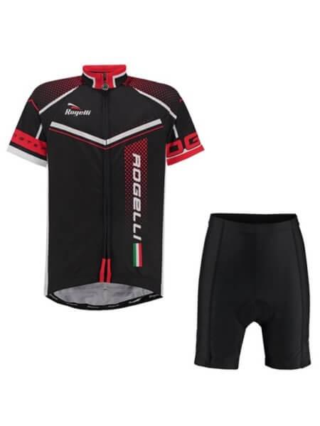 Rogelli gara mostro black red wielershirt kind kort f 555 + fietsbroek v2