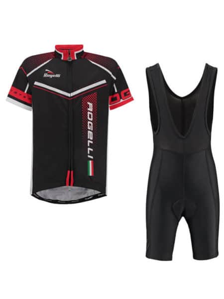 Rogelli fietskleding set Bibshort en Gara mostro Zwart Rood wielershirt