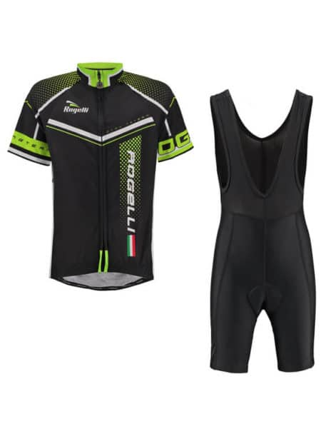 Rogelli fietskleding set Bibshort en Gara mostro Zwart fluor wielershirt