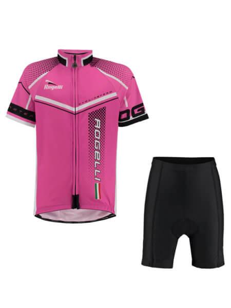 Rogelli gara mostro pink wielershirt kind kort met fietsbroek 555