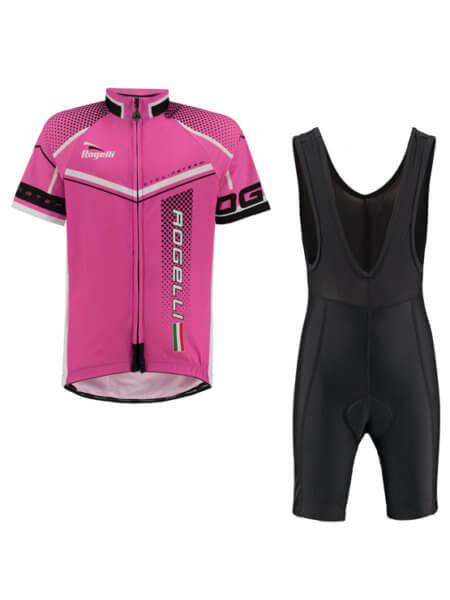 Rogelli gara mostro pink wielershirt kind met fietsbroek bib 555