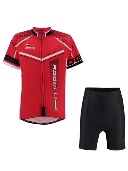 Rogelli gara mostro red wielershirt kind kort met fietsbroek 555