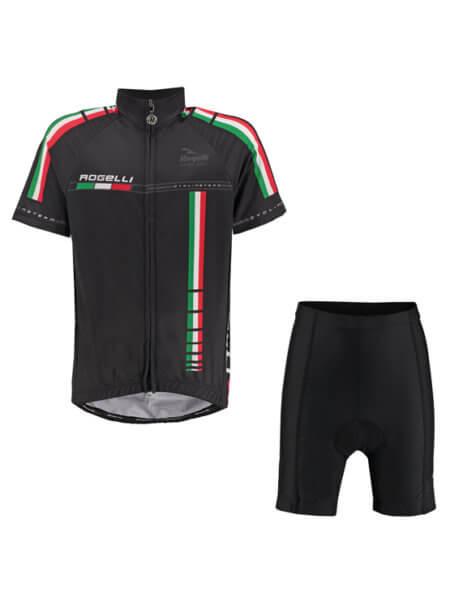 Rogelli team black wielershirt kind kort met fietsbroek 555