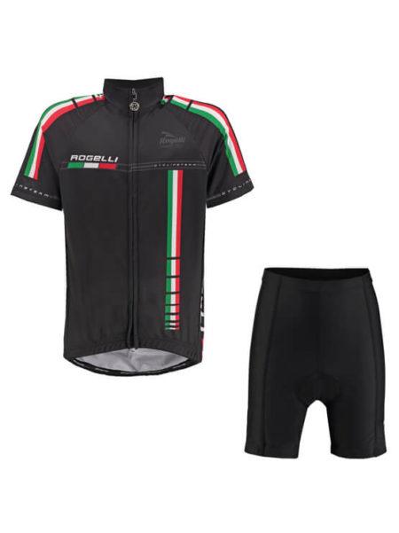 Rogelli fietskleding set Team pro Zwart Rood en Groen