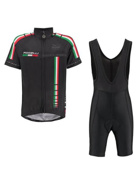 Rogelli team black wielershirt kind met fietsbroek bib 555