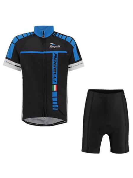 Rogelli umbria blue wielershirt kind kort met fietsbroek 555