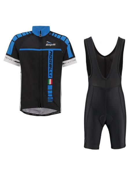 Rogelli fietskleding set bibshort en wielershirt Umbria blauw zwart