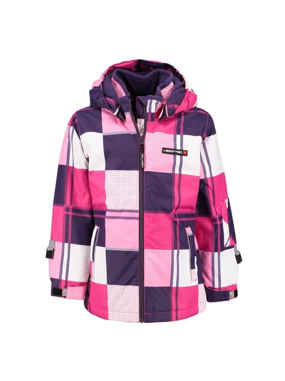 Paars roze witte geblokt lego ski jas meisjes