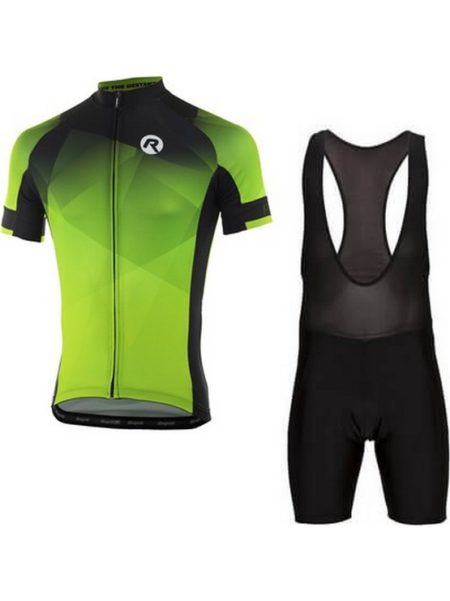 Rogelli fietskleding set Bibshort en Inspirato Zwart fluor wielershirt