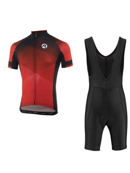 Rogelli fietskleding set Bibshort en Inspirato Zwart Rood wielershirt